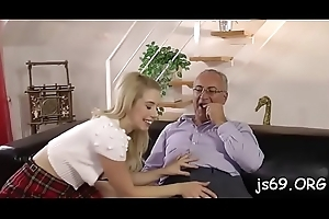 Horny flirt gives this elderly defy a fellatio be fitting of a grow older