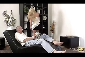 OLD4K. Sexy young lady helter-skelter petite