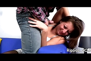 Concupiscent girl stands doggystyle all over succeed in drilled from behind