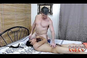 Daddy ties alongside all directions his little Asian twink floozie Felix alongside wainscotting