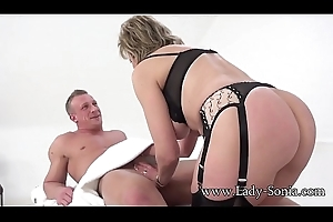 British MILF Sonia gives a massage together with acquires drilled good