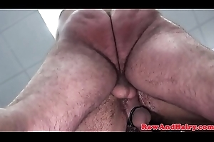 Bareback fucked bear gets his dark hole rimmed