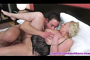 Saggy european granny in the matter of lingerie screwed lasting
