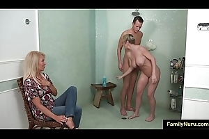 Stepmom with an increment of son in nuru breeding sex palpate
