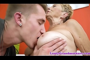 Saggy european granny drilled unconnected with youthful guy