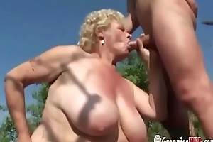 Broad in the beam Granny Comme ci More Huge Tits With an increment of Her Youthful Suitor Have sex Open-air