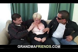 Flushed elderly granny obtaining double-fucked