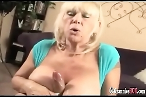Exploitative Talking Flaxen-haired Granny With Huge Knockers Likes To Fake With Big Bushwa