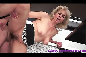 Dicksucking grandma bawdy cleft team-fucked doggystyle