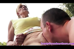 Hairy grandma receives banged approximately open-air action