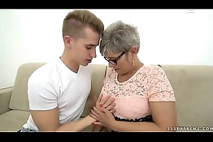 Grandma deepthroats a young fat dick before riding on clean out