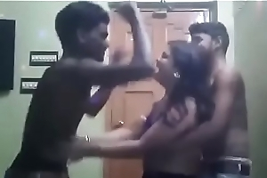 Indina aunty dancing with a handful of boys