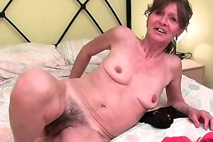 Queasy granny acquires her saggy milk sacks increased by G chasm fondled