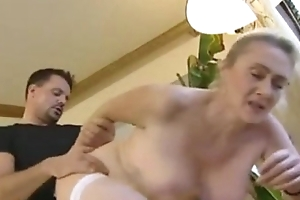 German golden-haired experienced anal with the addition of creampie