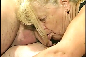 Two granny acquire drilled almost foursome play the part
