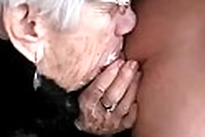 Granny sucks fellows strapon for the brush sumptuously - greater quantity ...